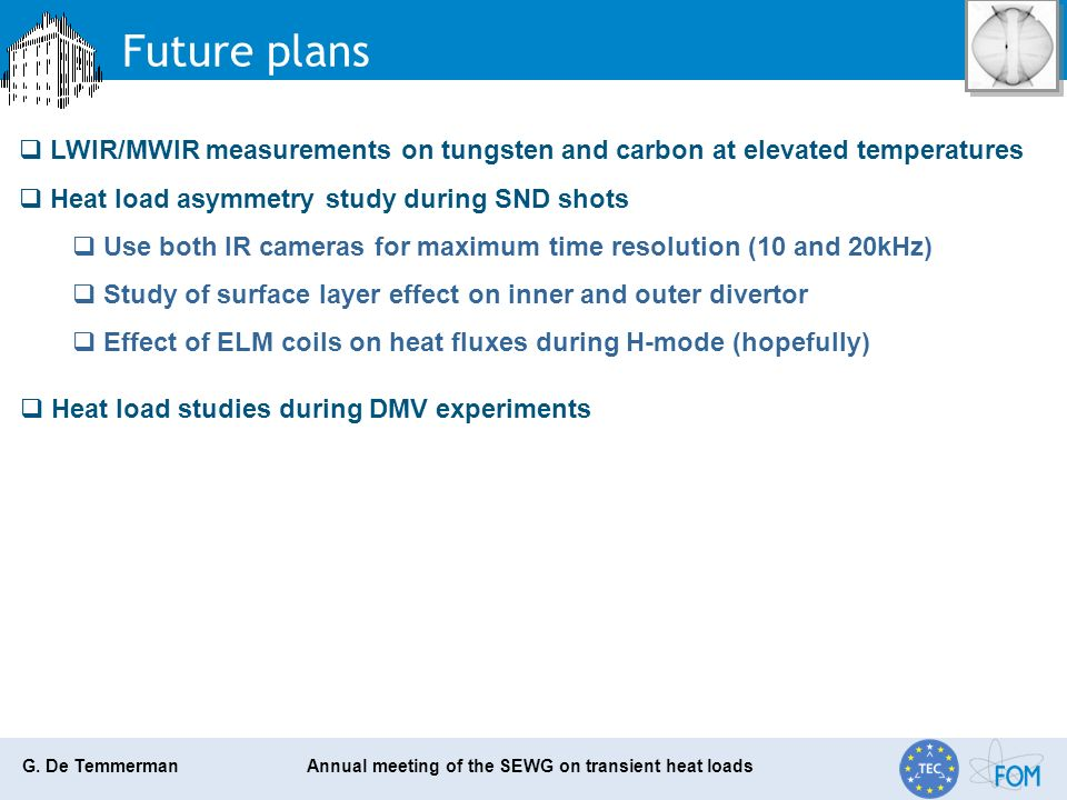 G. De Temmerman Annual meeting of the SEWG on transient heat loads Future plans LWIR/MWIR measurements on tungsten and carbon at elevated temperatures