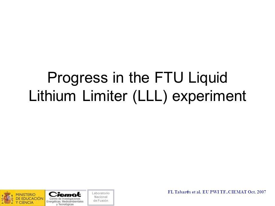 Laboratorio Nacional de Fusión FL Tabarés et al. EU PWI TF..CIEMAT Oct.