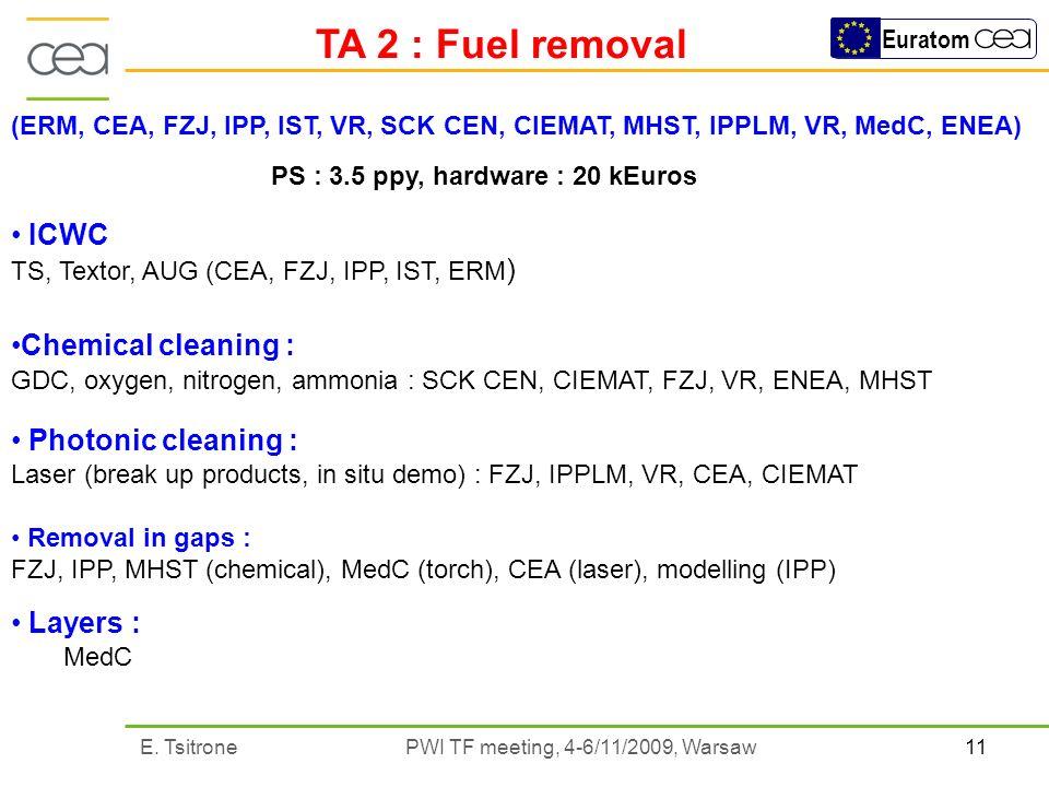 11E. Tsitrone PWI TF meeting, 4-6/11/2009, Warsaw Euratom TA 2 : Fuel removal (ERM, CEA, FZJ, IPP, IST, VR, SCK CEN, CIEMAT, MHST, IPPLM, VR, MedC, EN
