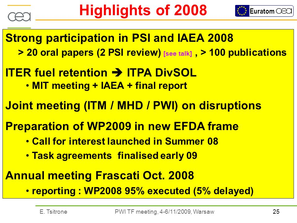 25E. Tsitrone PWI TF meeting, 4-6/11/2009, Warsaw Euratom Highlights of 2008 Strong participation in PSI and IAEA 2008 > 20 oral papers (2 PSI review)