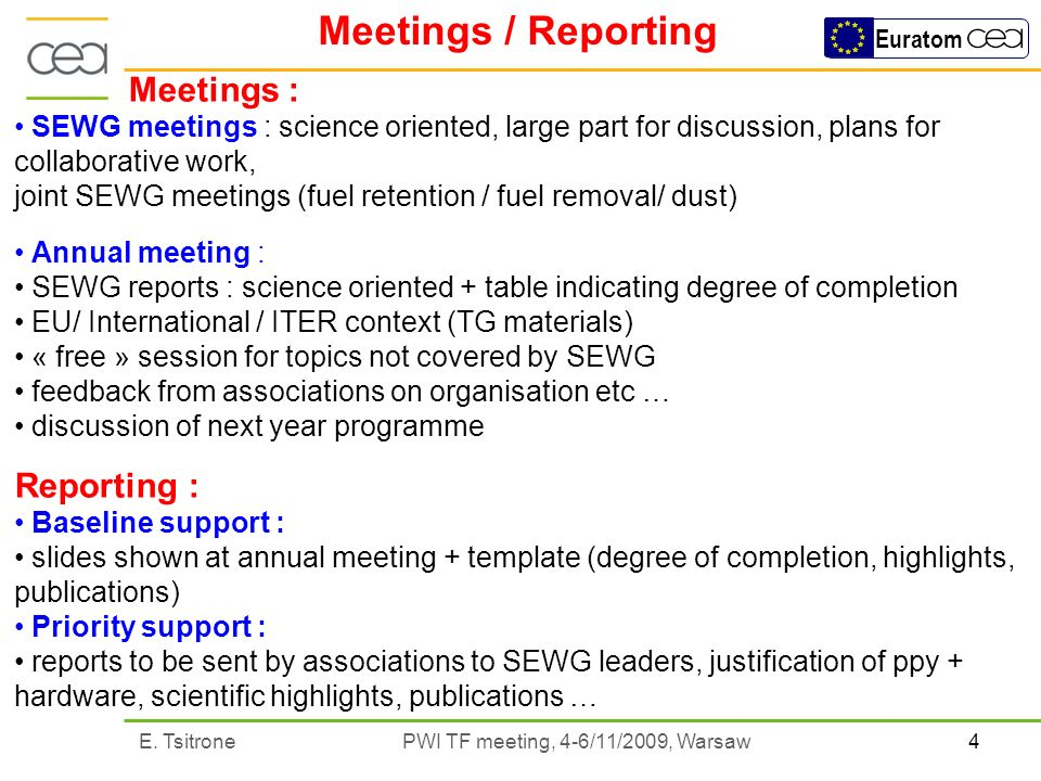 4E. Tsitrone PWI TF meeting, 4-6/11/2009, Warsaw Euratom Meetings / Reporting Meetings : SEWG meetings : science oriented, large part for discussion,