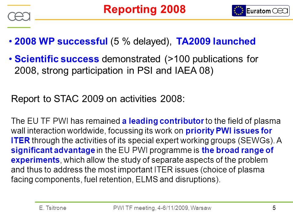 5E. Tsitrone PWI TF meeting, 4-6/11/2009, Warsaw Euratom Reporting 2008 Report to STAC 2009 on activities 2008: The EU TF PWI has remained a leading c