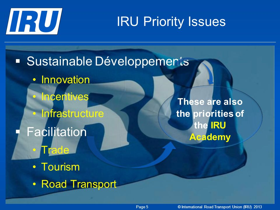 IRU Priority Issues Sustainable Développements Innovation Incentives Infrastructure Facilitation Trade Tourism Road Transport These are also the priorities of the IRU Academy Page 5 © International Road Transport Union (IRU) 2013