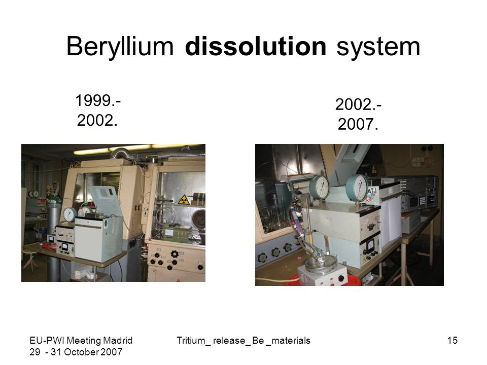 EU-PWI Meeting Madrid 29 - 31 October 2007 Tritium_ release_ Be _materials15 Beryllium dissolution system 1999.- 2002.