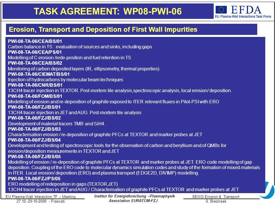 EU Plasma-Wall Interaction TF – Meeting 27.10.-29-10-2008 - Frascati SEWG Erosion & Transport S.