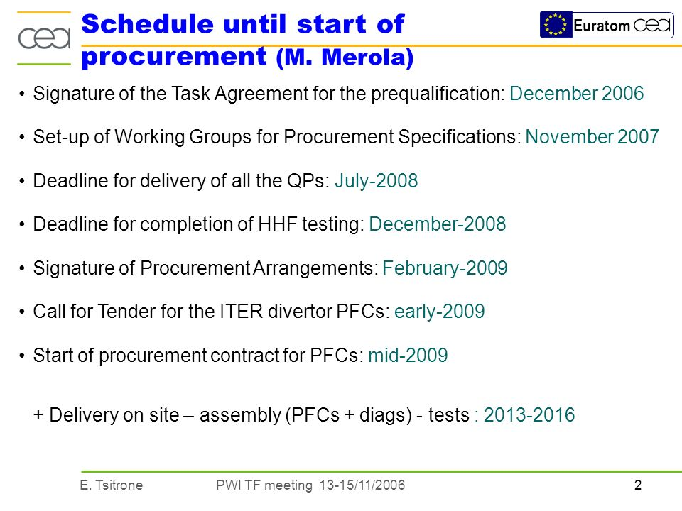 2E. TsitronePWI TF meeting 13-15/11/2006 Euratom Signature of the Task Agreement for the prequalification: December 2006 Set-up of Working Groups for