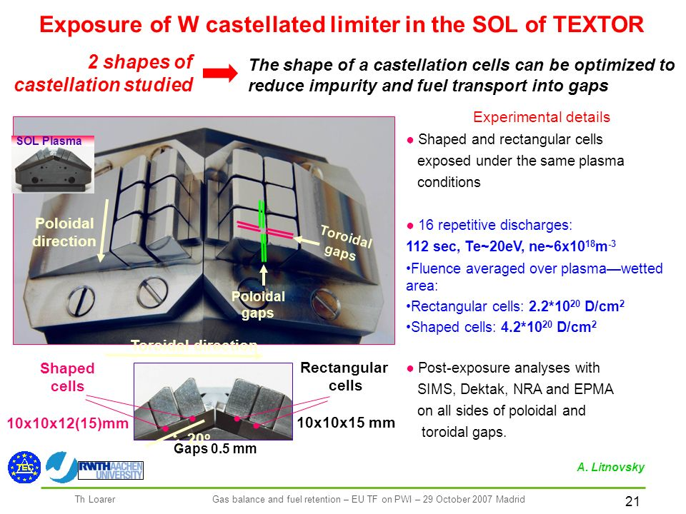 21 Th LoarerGas balance and fuel retention – EU TF on PWI – 29 October 2007 Madrid Toroidal direction Poloidal direction SOL Plasma Shaped cells 10x10x12(15)mm Rectangular cells 10x10x15 mm The shape of a castellation cells can be optimized to reduce impurity and fuel transport into gaps 2 shapes of castellation studied Experimental details Shaped and rectangular cells exposed under the same plasma conditions 16 repetitive discharges: 112 sec, Te~20eV, ne~6x10 18 m -3 Fluence averaged over plasmawetted area: Rectangular cells: 2.2*10 20 D/cm 2 Shaped cells: 4.2*10 20 D/cm 2 Post-exposure analyses with SIMS, Dektak, NRA and EPMA on all sides of poloidal and toroidal gaps.