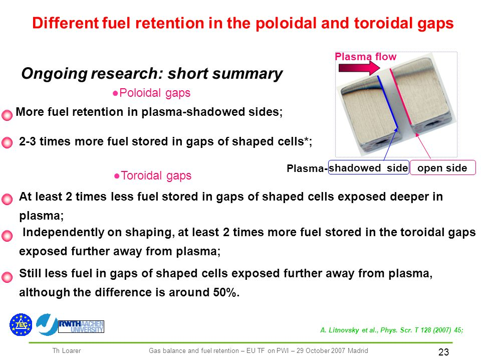 23 Th LoarerGas balance and fuel retention – EU TF on PWI – 29 October 2007 Madrid Poloidal gaps Different fuel retention in the poloidal and toroidal gaps Plasma flow open side shadowed side Plasma- Ongoing research: short summary More fuel retention in plasma-shadowed sides; 2-3 times more fuel stored in gaps of shaped cells*; Toroidal gaps At least 2 times less fuel stored in gaps of shaped cells exposed deeper in plasma; Independently on shaping, at least 2 times more fuel stored in the toroidal gaps exposed further away from plasma; Still less fuel in gaps of shaped cells exposed further away from plasma, although the difference is around 50%.