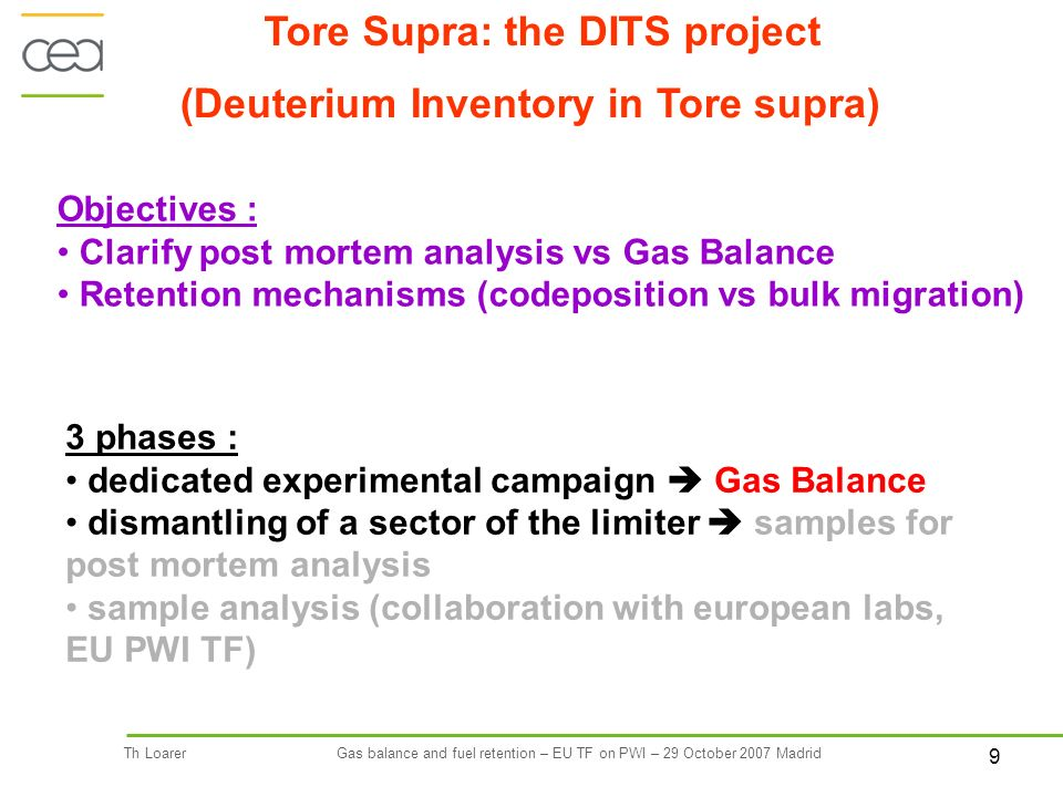 9 Th LoarerGas balance and fuel retention – EU TF on PWI – 29 October 2007 Madrid Tore Supra: the DITS project Objectives : Clarify post mortem analysis vs Gas Balance Retention mechanisms (codeposition vs bulk migration) (Deuterium Inventory in Tore supra) 3 phases : dedicated experimental campaign Gas Balance dismantling of a sector of the limiter samples for post mortem analysis sample analysis (collaboration with european labs, EU PWI TF)