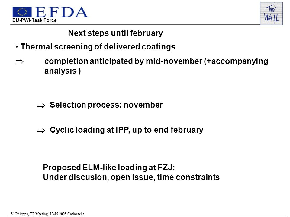 Next steps until february Thermal screening of delivered coatings completion anticipated by mid-november (+accompanying analysis ) Selection process: november Cyclic loading at IPP, up to end february Proposed ELM-like loading at FZJ: Under discusion, open issue, time constraints EU-PWI-Task Force V.