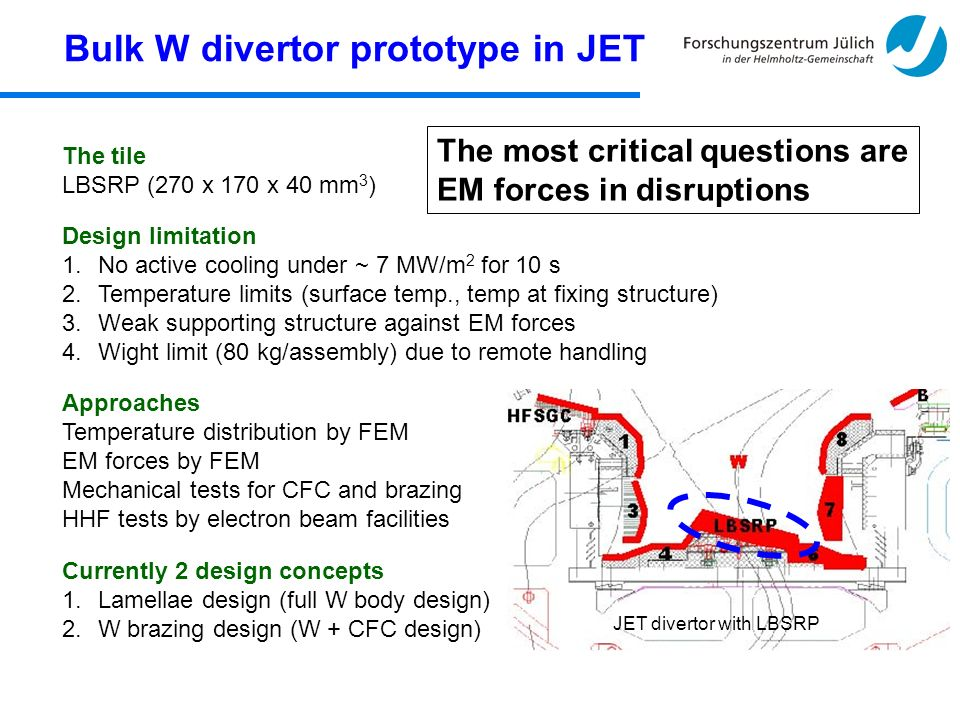 Bulk W divertor prototype in JET Currently 2 design concepts 1.Lamellae design (full W body design) 2.W brazing design (W + CFC design) Design limitation 1.No active cooling under ~ 7 MW/m 2 for 10 s 2.Temperature limits (surface temp., temp at fixing structure) 3.Weak supporting structure against EM forces 4.Wight limit (80 kg/assembly) due to remote handling The tile LBSRP (270 x 170 x 40 mm 3 ) Approaches Temperature distribution by FEM EM forces by FEM Mechanical tests for CFC and brazing HHF tests by electron beam facilities JET divertor with LBSRP The most critical questions are EM forces in disruptions