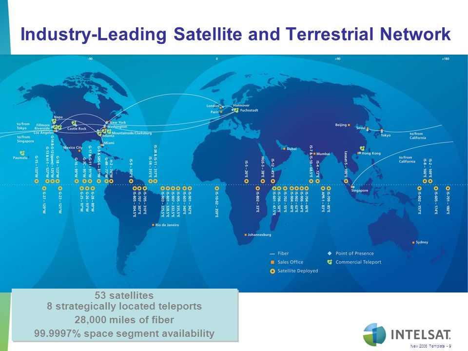 New 2006 Template - 9 Industry-Leading Satellite and Terrestrial Network 53 satellites 8 strategically located teleports 28,000 miles of fiber 99.9997% space segment availability 53 satellites 8 strategically located teleports 28,000 miles of fiber 99.9997% space segment availability