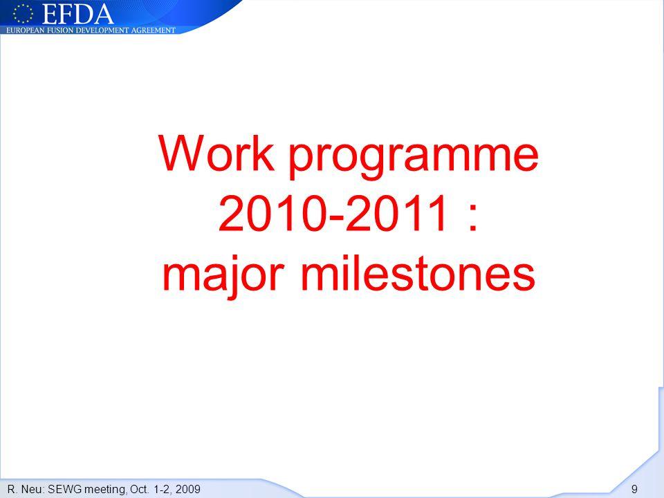 R. Neu: SEWG meeting, Oct. 1-2, 2009 9 Work programme 2010-2011 : major milestones