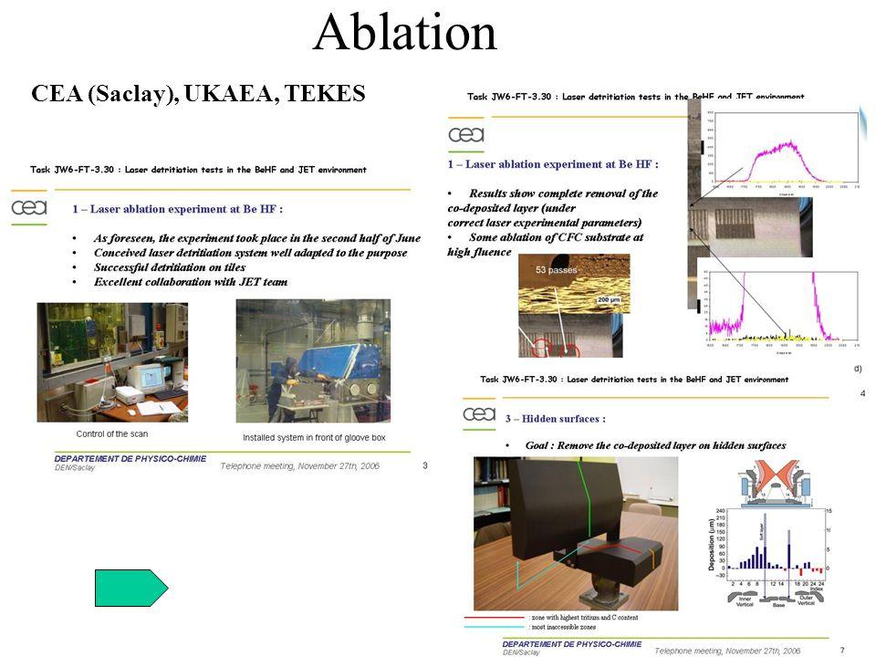 Ablation CEA (Saclay), UKAEA, TEKES