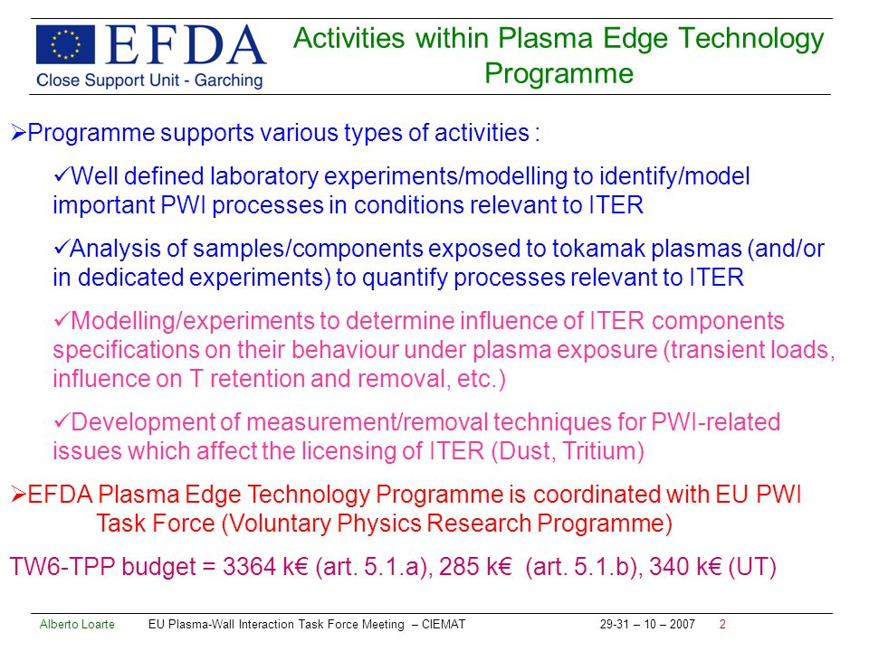 Alberto Loarte EU Plasma-Wall Interaction Task Force Meeting – CIEMAT – 10 – Activities within Plasma Edge Technology Programme Programme supports various types of activities : Well defined laboratory experiments/modelling to identify/model important PWI processes in conditions relevant to ITER Analysis of samples/components exposed to tokamak plasmas (and/or in dedicated experiments) to quantify processes relevant to ITER Modelling/experiments to determine influence of ITER components specifications on their behaviour under plasma exposure (transient loads, influence on T retention and removal, etc.) Development of measurement/removal techniques for PWI-related issues which affect the licensing of ITER (Dust, Tritium) EFDA Plasma Edge Technology Programme is coordinated with EU PWI Task Force (Voluntary Physics Research Programme) TW6-TPP budget = 3364 k (art.
