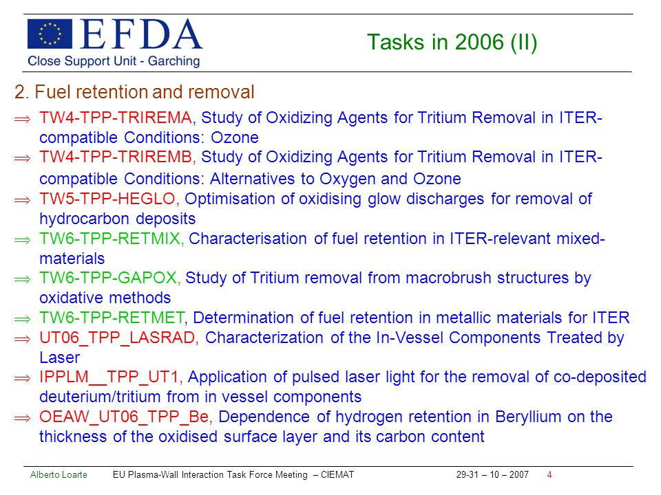 Alberto Loarte EU Plasma-Wall Interaction Task Force Meeting – CIEMAT – 10 – Tasks in 2006 (II) 2.