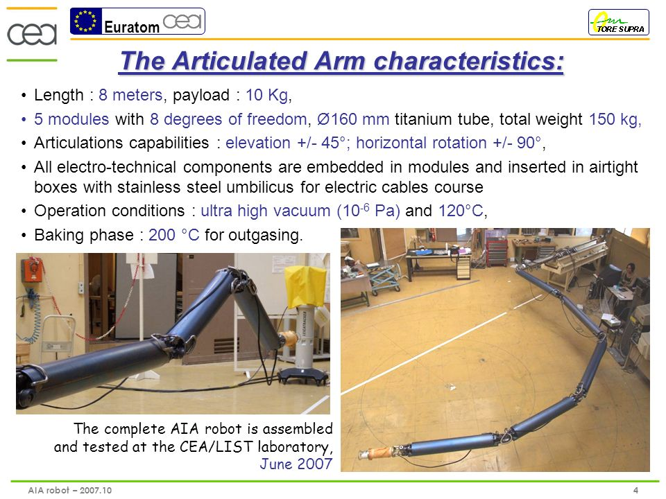 Euratom 5 AIA robot – 2007.10 The viewing process: 1 st process plugged: CCD color sensor with zoom and LEDs light embedded in a airtight box nitrogen gas cooled system (internal temperature below 60°) gas and electric cables drive by 2 external SS umbilicus 3 degrees of freedom (1 body rotation + 2 camera rotations) developed in 2006 and operated in June 2007 The viewing process developed by the ECA/Hytec (France-PACA) glass dome (Pyrex) gold coating for minimize thermal radiation LEDs light Lens (tilt articulation of +/-90° and panoramic articulation of 360°) joint (rotation of +/-90°)