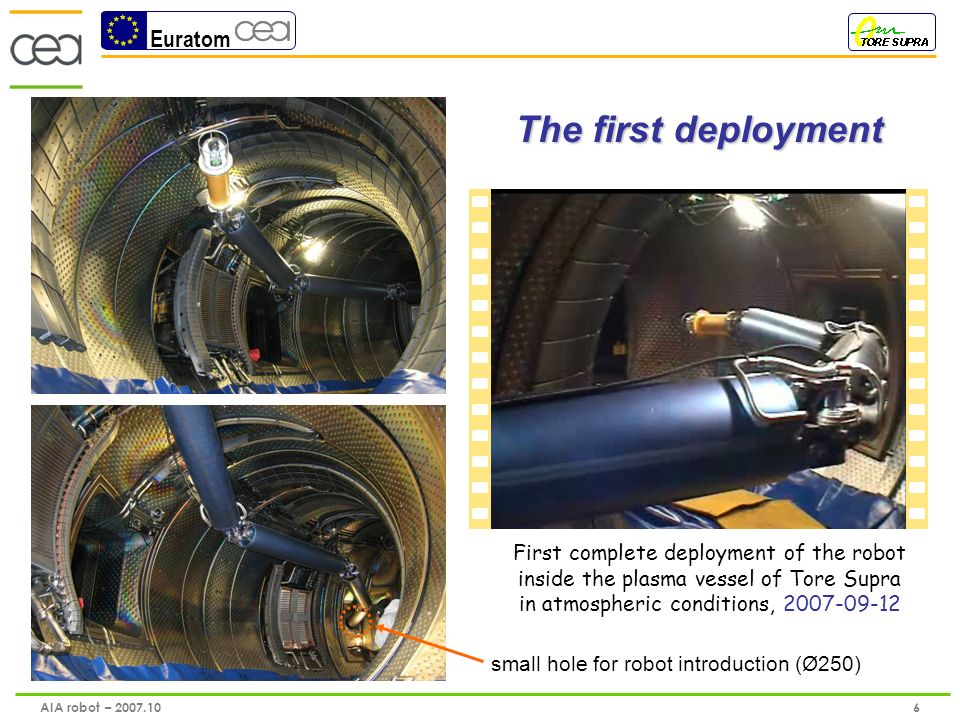 Euratom 7 AIA robot – 2007.10 Viewing in the dark: Video acquisition from viewing process External vision of viewing inspection First inspections of Plasma Facing Components of Tore Supra in relevant darkness conditions, 2007-09-13