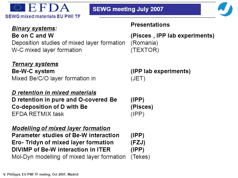 SEWG mixed materials EU PWI TF V.
