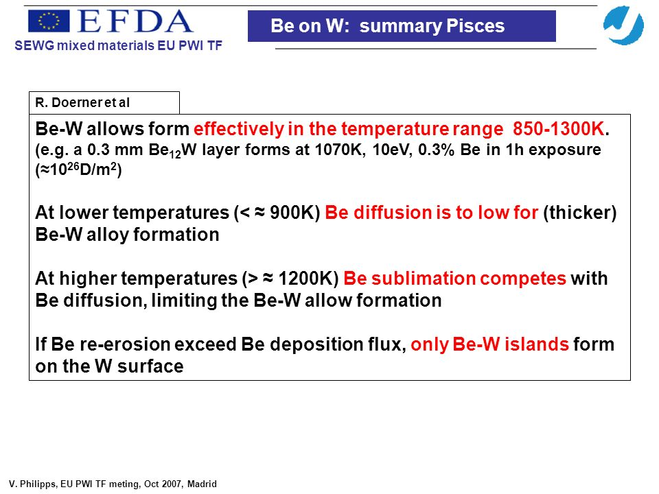 Be-W allows form effectively in the temperature range 850-1300K.