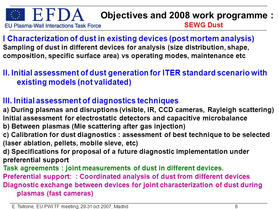 E. Tsitrone, EU PWI TF meeting, 29-31 oct 2007, Madrid8 Objectives and 2008 work programme : SEWG Dust I Characterization of dust in existing devices