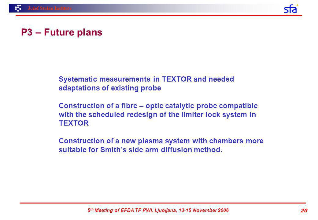 Jožef Stefan Institute 5 th Meeting of EFDA TF PWI, Ljubljana, 13-15 November 2006 20 P3 – Future plans Systematic measurements in TEXTOR and needed adaptations of existing probe Construction of a fibre – optic catalytic probe compatible with the scheduled redesign of the limiter lock system in TEXTOR Construction of a new plasma system with chambers more suitable for Smiths side arm diffusion method.