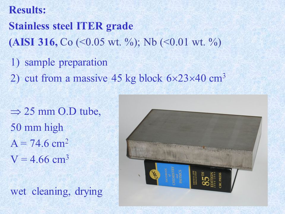 Results: Stainless steel ITER grade (AISI 316, Co (<0.05 wt.