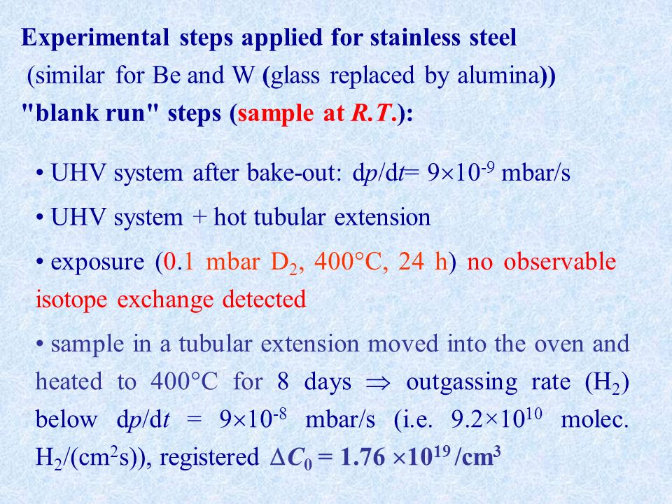 Experimental steps applied for stainless steel (similar for Be and W (glass replaced by alumina)) blank run steps (sample at R.T.): UHV system after bake-out: dp/dt= mbar/s UHV system + hot tubular extension exposure (0.1 mbar D 2, 400°C, 24 h) no observable isotope exchange detected sample in a tubular extension moved into the oven and heated to 400°C for 8 days outgassing rate (H 2 ) below dp/dt = mbar/s (i.e.