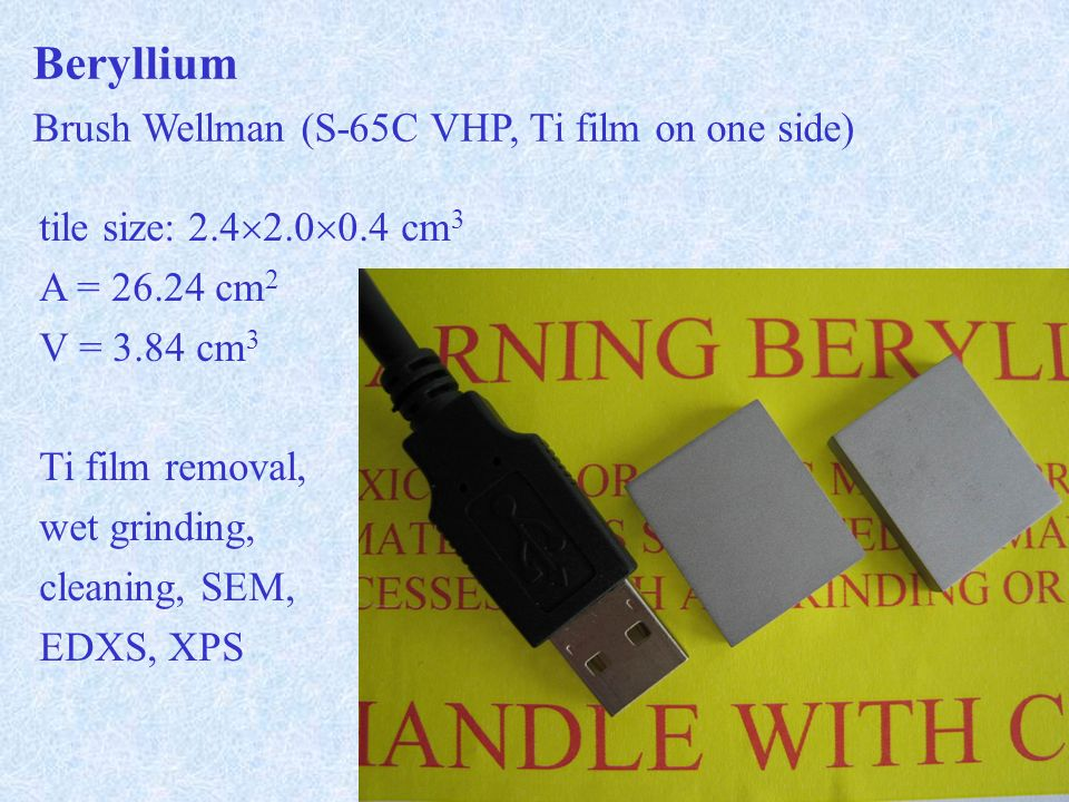 Beryllium Brush Wellman (S-65C VHP, Ti film on one side) tile size: cm 3 A = cm 2 V = 3.84 cm 3 Ti film removal, wet grinding, cleaning, SEM, EDXS, XPS