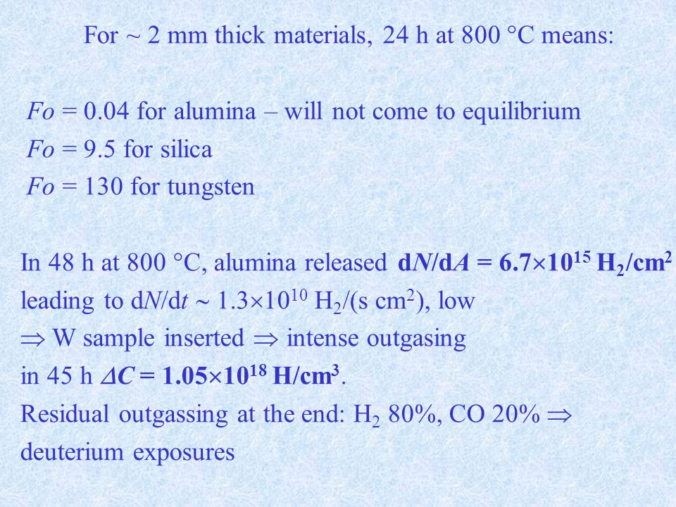 For ~ 2 mm thick materials, 24 h at 800 °C means: Fo = 0.04 for alumina – will not come to equilibrium Fo = 9.5 for silica Fo = 130 for tungsten In 48 h at 800 °C, alumina released dN/dA = 6.7 10 15 H 2 /cm 2 leading to dN/dt 1.3 10 10 H 2 /(s cm 2 ), low W sample inserted intense outgasing in 45 h C = 1.05 10 18 H/cm 3.