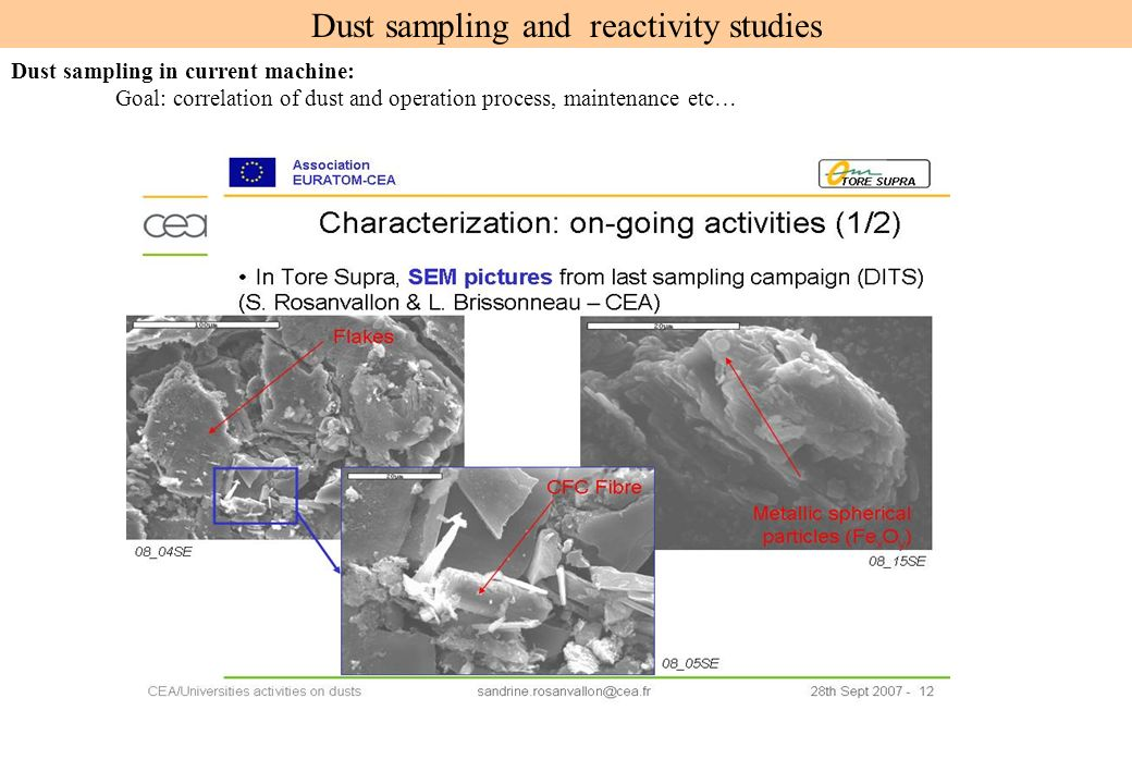 Dust sampling and reactivity studies Dust sampling in current machine: Goal: correlation of dust and operation process, maintenance etc…