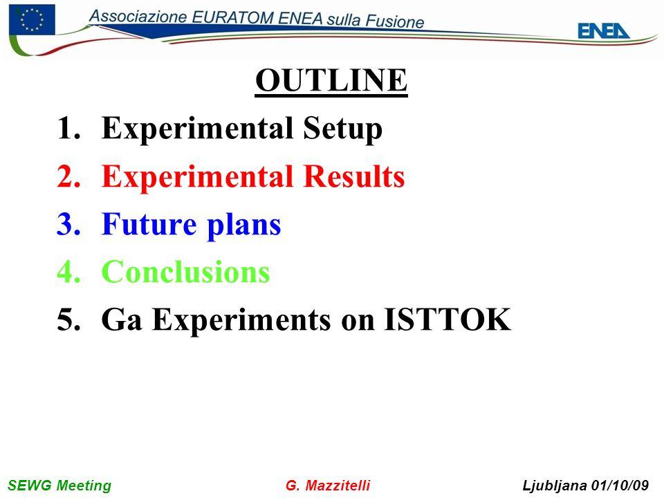 SEWG Meeting G. Mazzitelli Ljubljana 01/10/09 3 OUTLINE 1.Experimental Setup 2.Experimental Results 3.Future plans 4.Conclusions 5.Ga Experiments on I