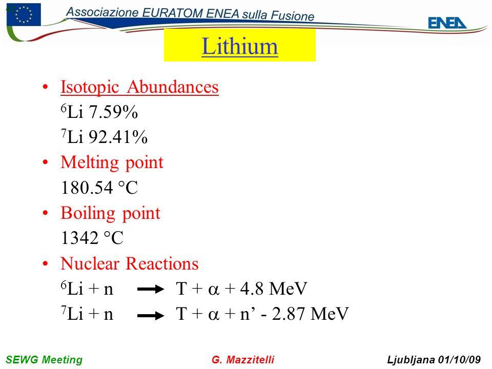 SEWG Meeting G. Mazzitelli Ljubljana 01/10/09 42 Lithium Isotopic Abundances 6 Li 7.59% 7 Li 92.41% Melting point 180.54 °C Boiling point 1342 °C Nucl