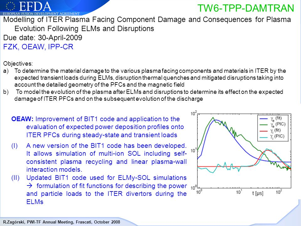 R.Zagórski, PWI-TF Annual Meeting, Frascati, October 2008 TW6-TPP-DAMTRAN Modelling of ITER Plasma Facing Component Damage and Consequences for Plasma Evolution Following ELMs and Disruptions Due date: 30-April-2009 FZK, OEAW, IPP-CR Objectives: a)To determine the material damage to the various plasma facing components and materials in ITER by the expected transient loads during ELMs, disruption thermal quenches and mitigated disruptions taking into account the detailed geometry of the PFCs and the magnetic field b) To model the evolution of the plasma after ELMs and disruptions to determine its effect on the expected damage of ITER PFCs and on the subsequent evolution of the discharge OEAW: Improvement of BIT1 code and application to the evaluation of expected power deposition profiles onto ITER PFCs during steady-state and transient loads (I)A new version of the BIT1 code has been developed.