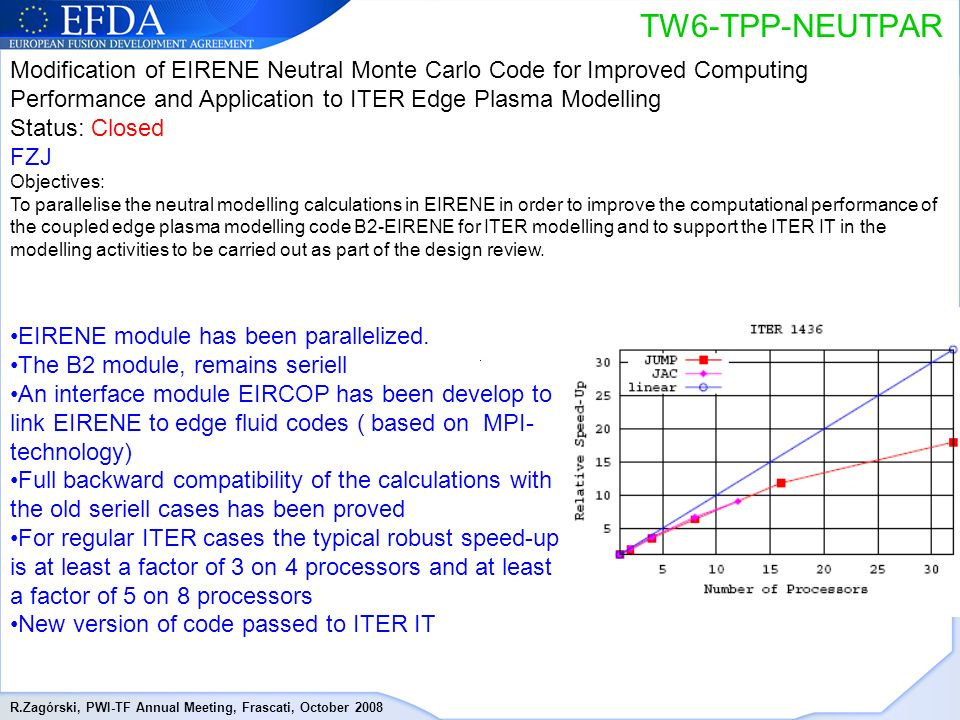 R.Zagórski, PWI-TF Annual Meeting, Frascati, October 2008 TW6-TPP-NEUTPAR Modification of EIRENE Neutral Monte Carlo Code for Improved Computing Performance and Application to ITER Edge Plasma Modelling Status: Closed FZJ Objectives: To parallelise the neutral modelling calculations in EIRENE in order to improve the computational performance of the coupled edge plasma modelling code B2-EIRENE for ITER modelling and to support the ITER IT in the modelling activities to be carried out as part of the design review.