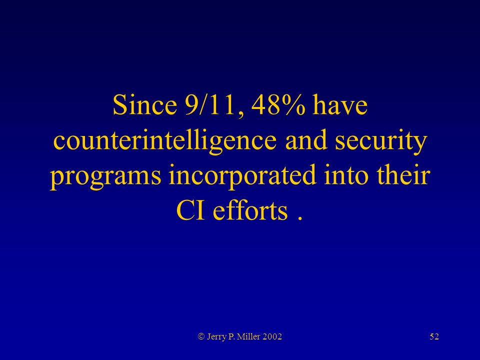 52 Jerry P. Miller 2002 Since 9/11, 48% have counterintelligence and security programs incorporated into their CI efforts.