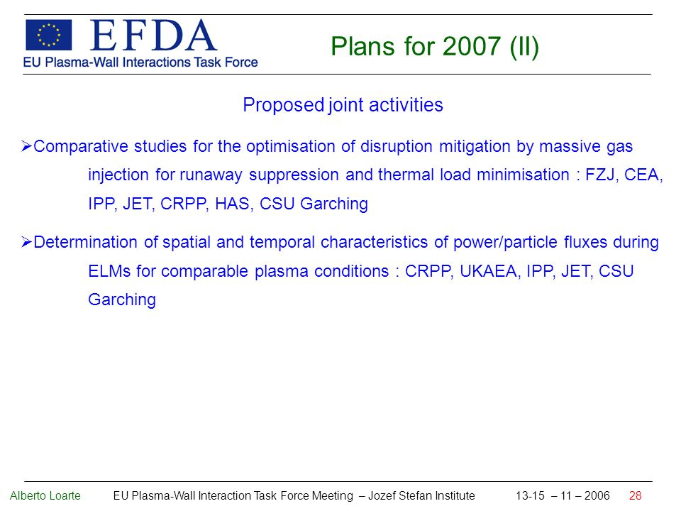 Alberto Loarte EU Plasma-Wall Interaction Task Force Meeting – Jozef Stefan Institute 13-15 – 11 – 2006 28 Plans for 2007 (II) Proposed joint activities Comparative studies for the optimisation of disruption mitigation by massive gas injection for runaway suppression and thermal load minimisation : FZJ, CEA, IPP, JET, CRPP, HAS, CSU Garching Determination of spatial and temporal characteristics of power/particle fluxes during ELMs for comparable plasma conditions : CRPP, UKAEA, IPP, JET, CSU Garching
