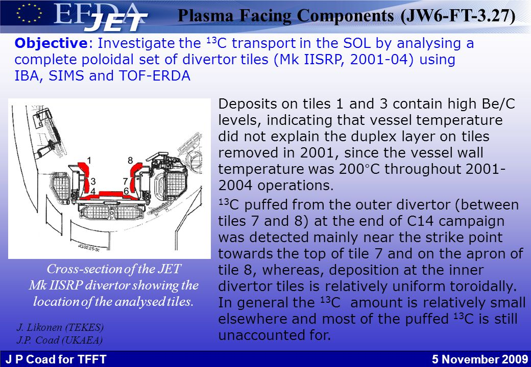 J P Coad for TFFT 5 November 2009 Plasma Facing Components (JW6-FT-3.27) Cross-section of the JET Mk IISRP divertor showing the location of the analysed tiles.