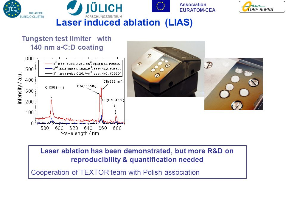 TORE SUPRA Association EURATOM-CEA Laser induced ablation (LIAS) Tungsten test limiter with 140 nm a-C:D coating Laser ablation has been demonstrated, but more R&D on reproducibility & quantification needed Cooperation of TEXTOR team with Polish association