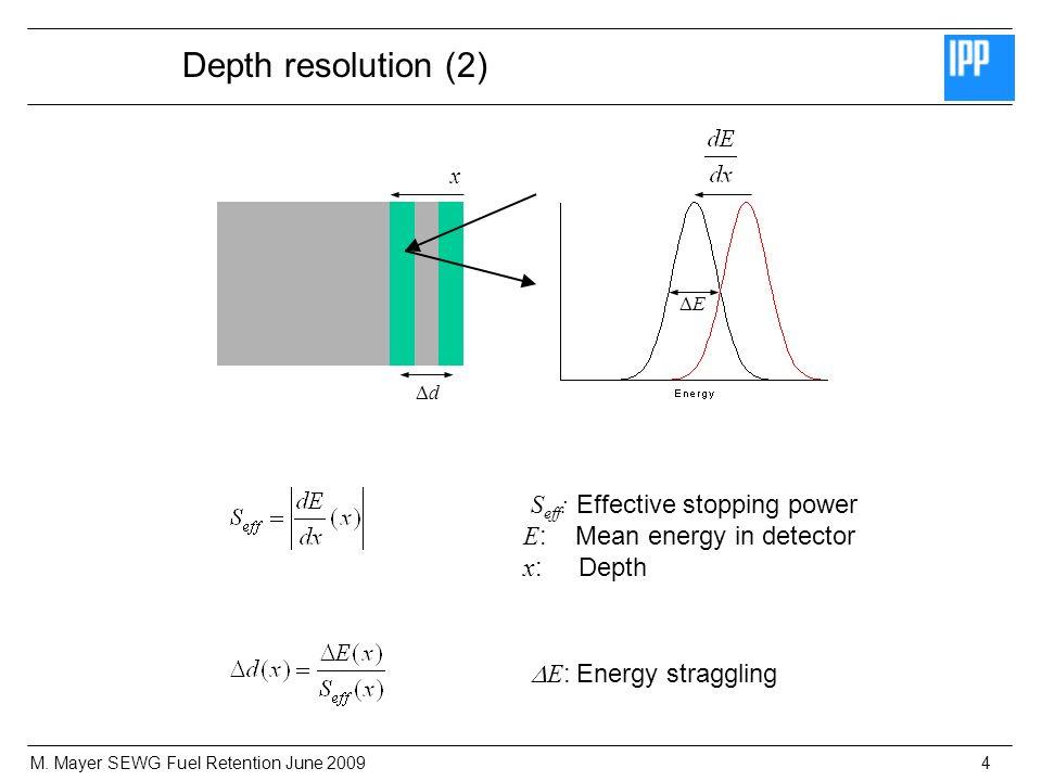 M. Mayer SEWG Fuel Retention June 20094 Depth resolution (2) d x E S eff : Effective stopping power E : Mean energy in detector x : Depth E : Energy s