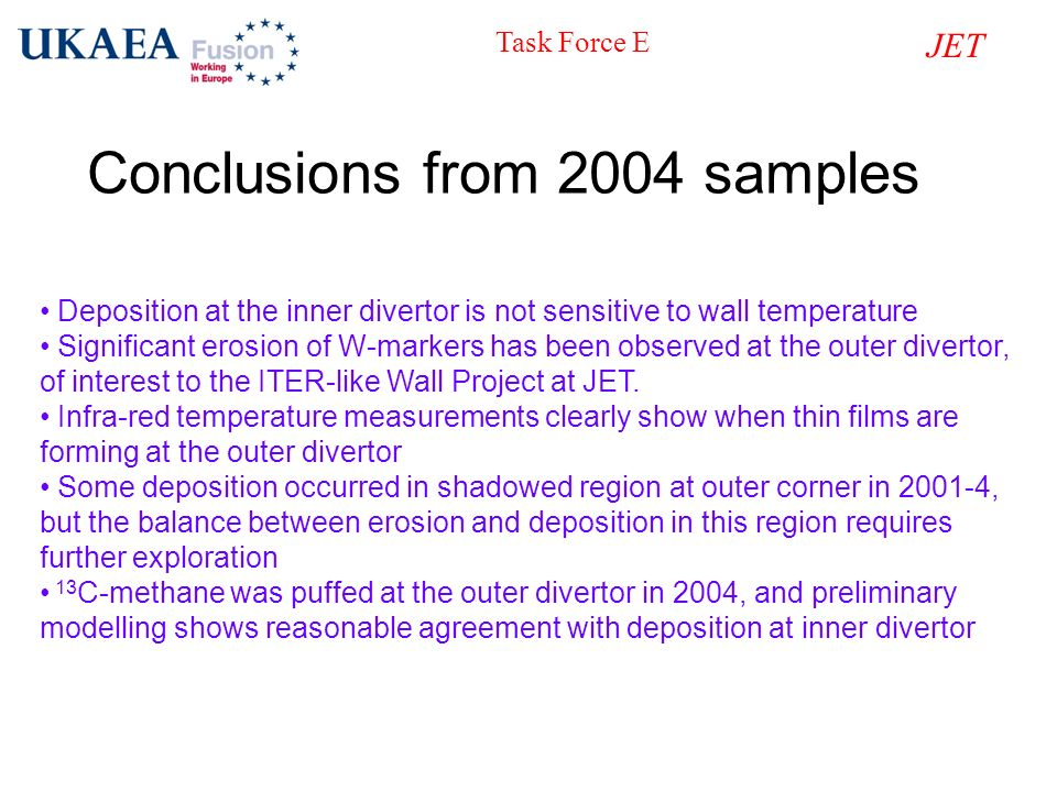 Conclusions from 2004 samples Deposition at the inner divertor is not sensitive to wall temperature Significant erosion of W-markers has been observed