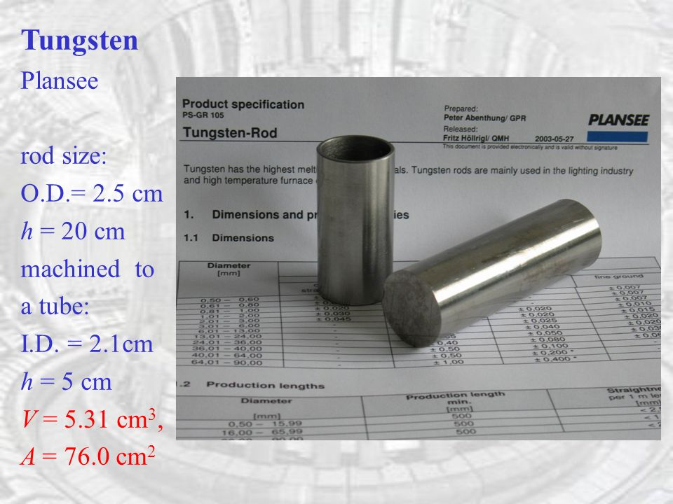 Tungsten Plansee rod size: O.D.= 2.5 cm h = 20 cm machined to a tube: I.D.