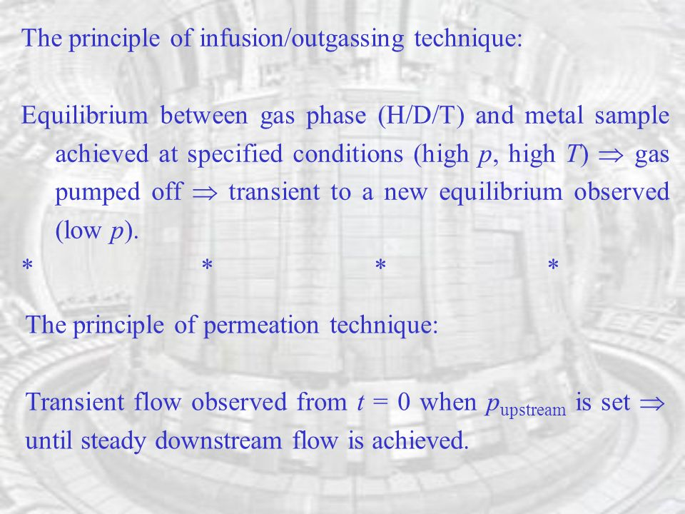 The principle of infusion/outgassing technique: Equilibrium between gas phase (H/D/T) and metal sample achieved at specified conditions (high p, high T) gas pumped off transient to a new equilibrium observed (low p).