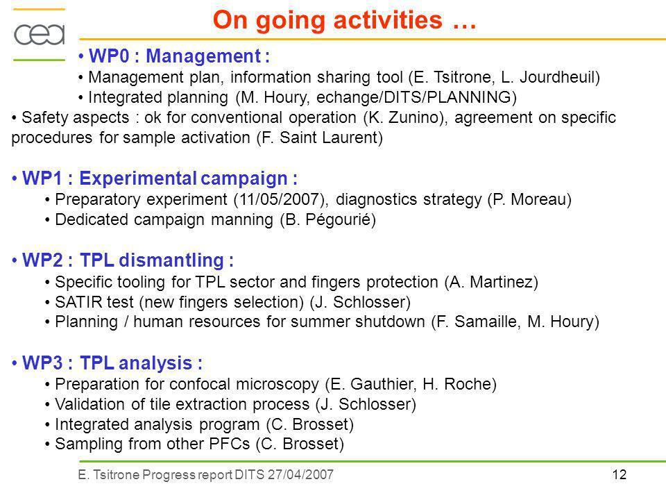 12E. Tsitrone Progress report DITS 27/04/2007 On going activities … WP0 : Management : Management plan, information sharing tool (E. Tsitrone, L. Jour