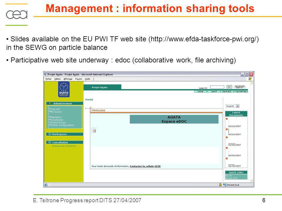 6E. Tsitrone Progress report DITS 27/04/2007 Management : information sharing tools Slides available on the EU PWI TF web site (http://www.efda-taskfo