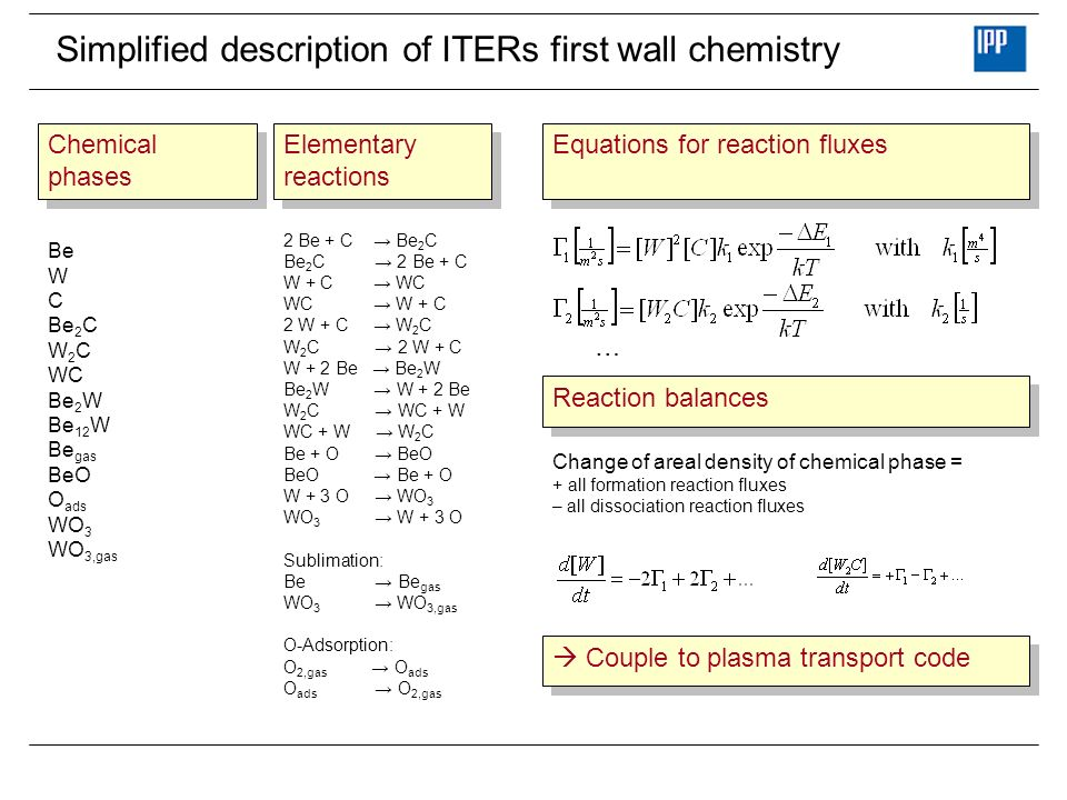 Simplified description of ITERs first wall chemistry Be W C Be 2 C W 2 C WC Be 2 W Be 12 W Be gas BeO O ads WO 3 WO 3,gas Chemical phases Chemical phases 2 Be + C Be 2 C Be 2 C 2 Be + C W + C WC WC W + C 2 W + C W 2 C W 2 C 2 W + C W + 2 Be Be 2 W Be 2 W W + 2 Be W 2 C WC + W WC + W W 2 C Be + O BeO BeO Be + O W + 3 O WO 3 WO 3 W + 3 O Sublimation: Be Be gas WO 3 WO 3,gas O-Adsorption: O 2,gas O ads O ads O 2,gas Elementary reactions Elementary reactions … Equations for reaction fluxes Reaction balances Change of areal density of chemical phase = + all formation reaction fluxes – all dissociation reaction fluxes Couple to plasma transport code