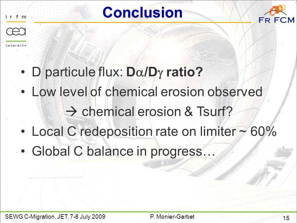 15 SEWG C-Migration, JET, 7-8 July 2009P. Monier-Garbet Conclusion D particule flux: D /D ratio.