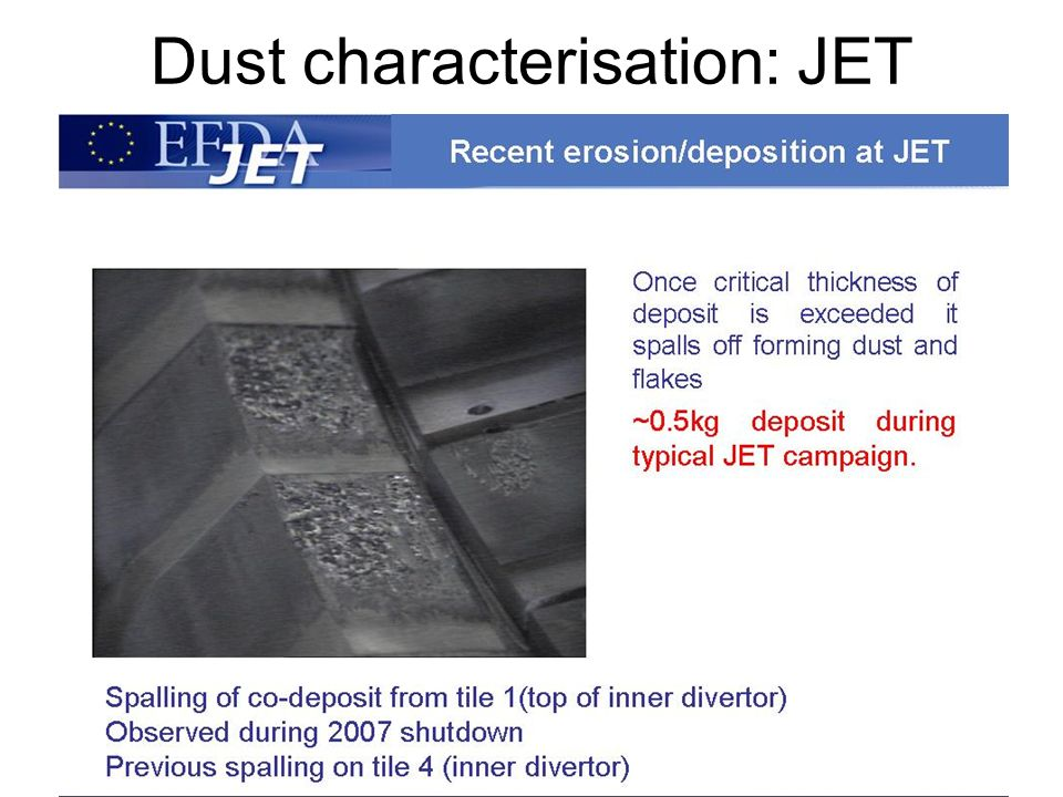 Dust characterisation: JET