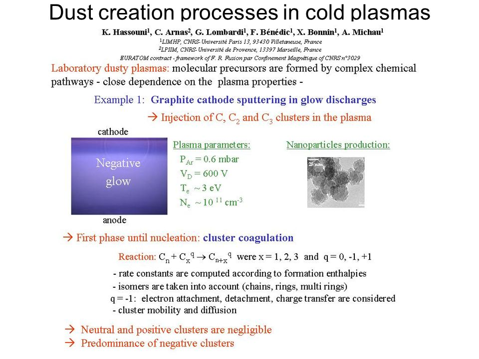 Dust creation processes in cold plasmas