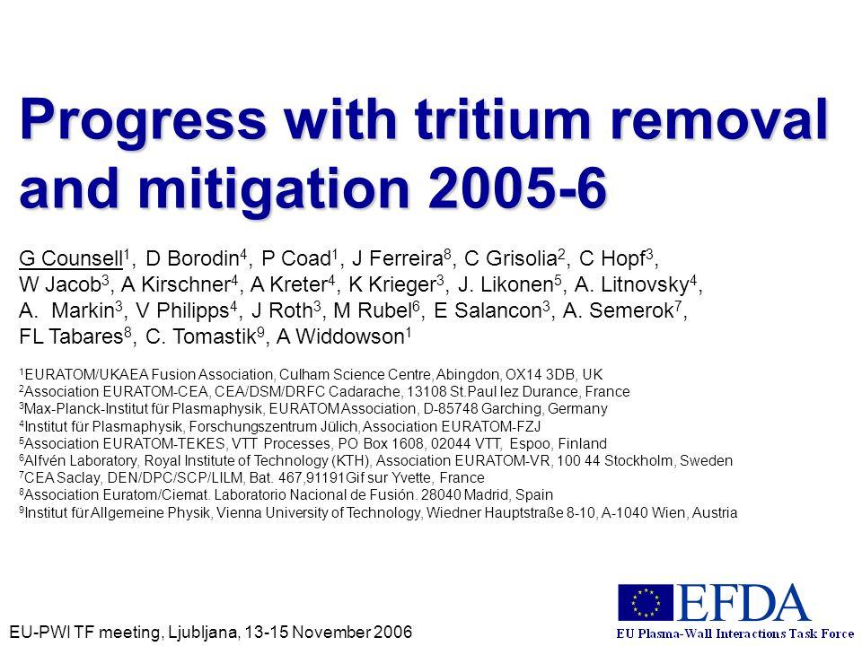 EU-PWI TF meeting, Ljubljana, 13-15 November 2006 Progress with tritium removal and mitigation 2005-6 G Counsell 1, D Borodin 4, P Coad 1, J Ferreira 8, C Grisolia 2, C Hopf 3, W Jacob 3, A Kirschner 4, A Kreter 4, K Krieger 3, J.